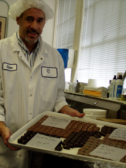 Moonstruck Chocolate Master Chocolatier Julian Rose in the chocolate lab