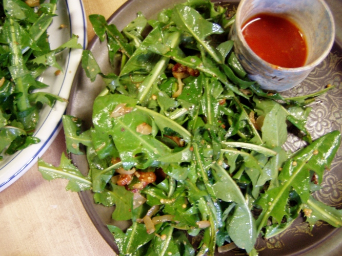 Dandelion salad with hot bacon vinaigrette and a side of canned tomato chile puree from last summer.