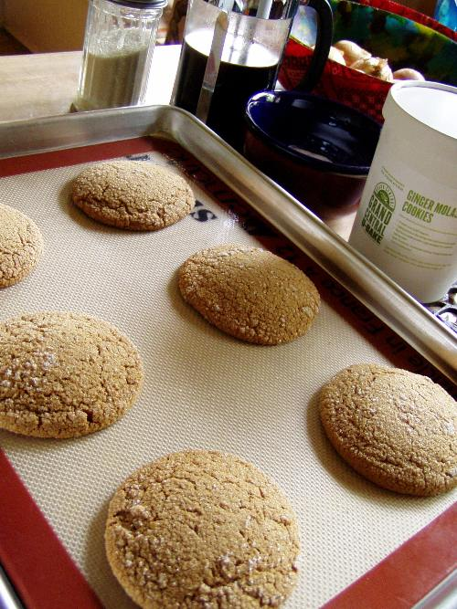 Ginger molasses cookies straight from the oven