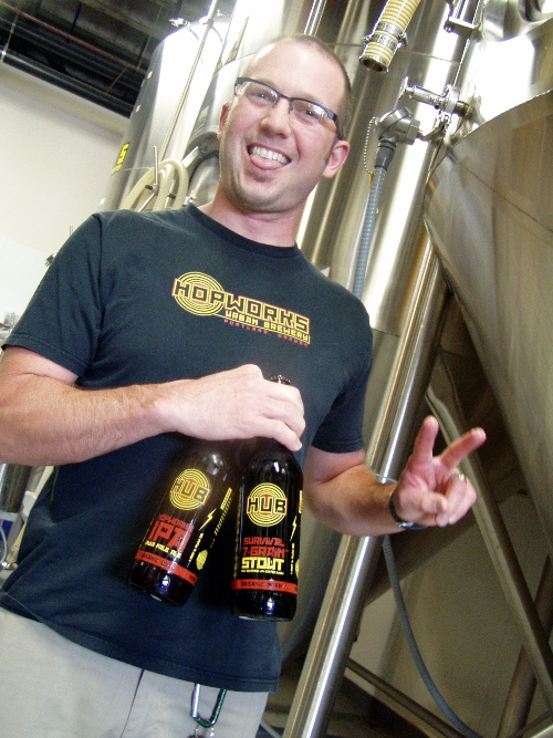 HUB owner Christian Ettinger won best brewmaster and brewery with Laurelwood Pub and Brewery in the 2004 World Beer Cup. Here he promotes peace and his ability to count.