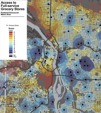 Food desert map of Portland