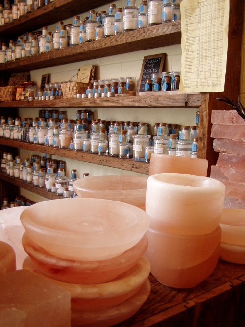 Himalayan salt block mortars, bowls and more and a store filled with salt