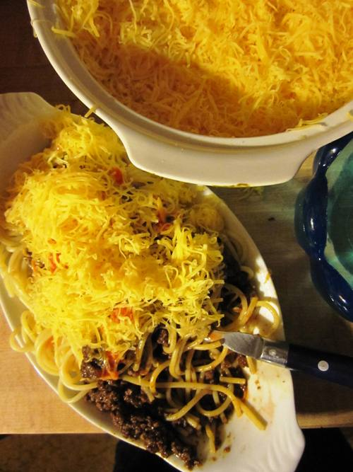 Sometimes 3-ways are sloppy. Cincinnati chili 3-ways that is...