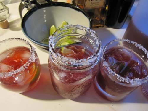 Pomegranate margaritas from The Hot and Hot Fish Club Cookbook at the end of the IACP Portland conference...