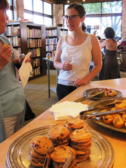 Morgan Grundstein-Helvey of Dovetail Bakery sampling her pastries.