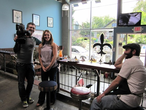 KPTV Fox's Better Portland cameraman Eric Patterson and host Brooke Carlson with Tobias Hogan of EaT Oyster Bar.