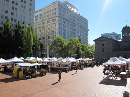 A few minutes before they rang the start bell at Pioneer Courthouse Square Farmers Market.