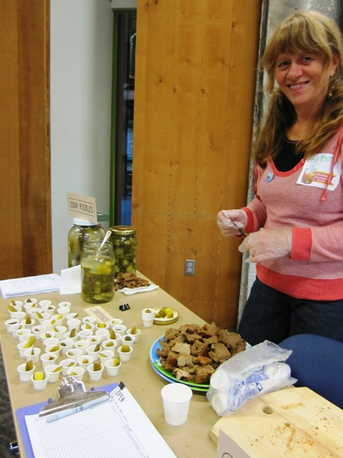 Peg Butler with her sour pickles and home captured sourdough starter rye bread.