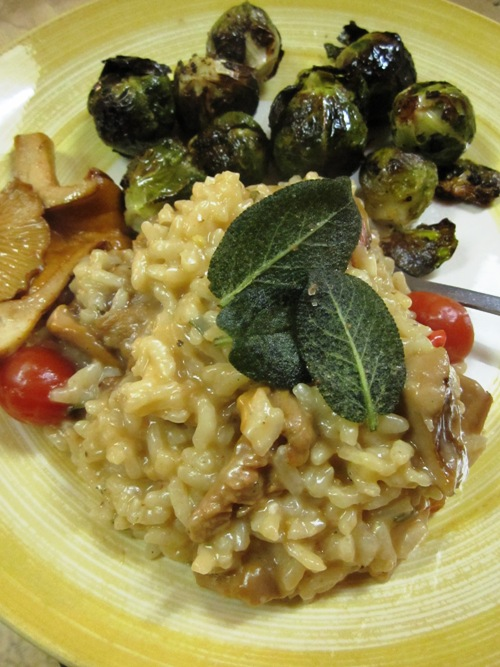 Chanterelle risotto with crispy fried sage leaves and bacony brussels sprouts.
