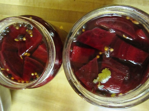 Sweet and salty pickled beets.
