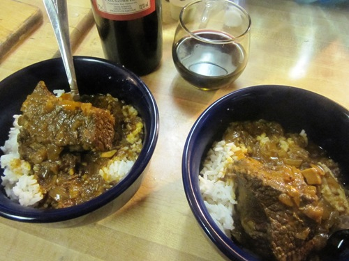The beef short ribs in a cinnamon red wine curry is one of our favorites so far.