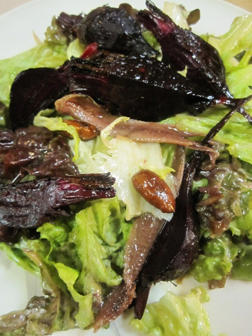 Roasted beet, anchovy, almond salad with miso Meyer lemon dressing.
