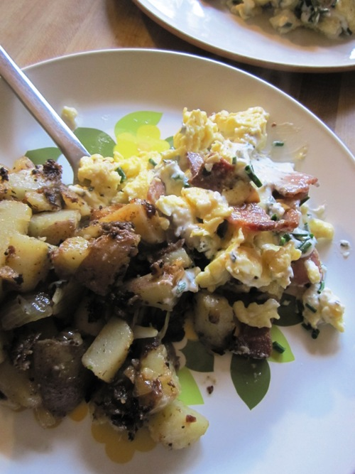 Bacon chive and cream cheese scramble with potato hash.