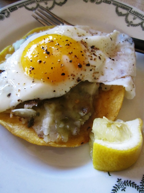 Made potato tacos in the evening and the next morn used the filling for this tostada topped with a sunny side up egg.