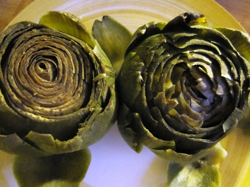 Can never get enough summer artichokes. Had these with drawn lime butter.