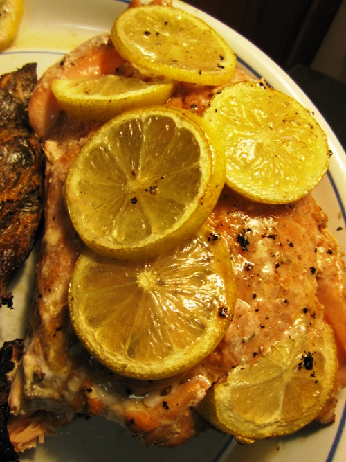 Our neighboor gave us this side of chinook and it was so good. Smothered it in olive oil with some salt and pepper and put it skin-side down on the grill with lemons on top. Delicious.