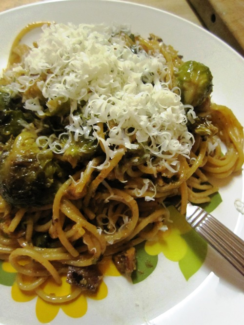 Brussels sprout bacon and miso butter spaghetti with toasted hazelnuts and pecorino. Will be repeating.