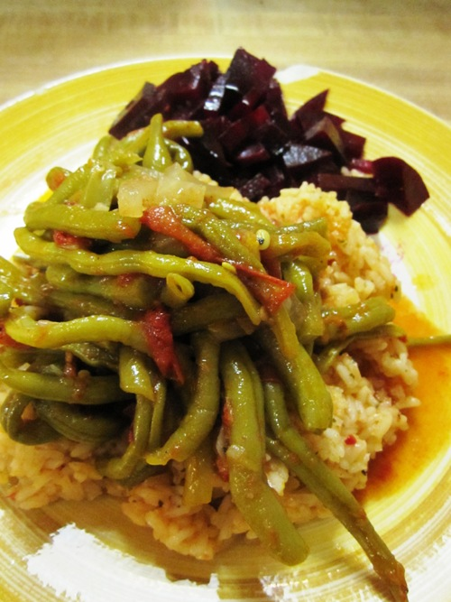 Slow cooked green beans take two over homemade salsa rice with boiled/dressed beets.