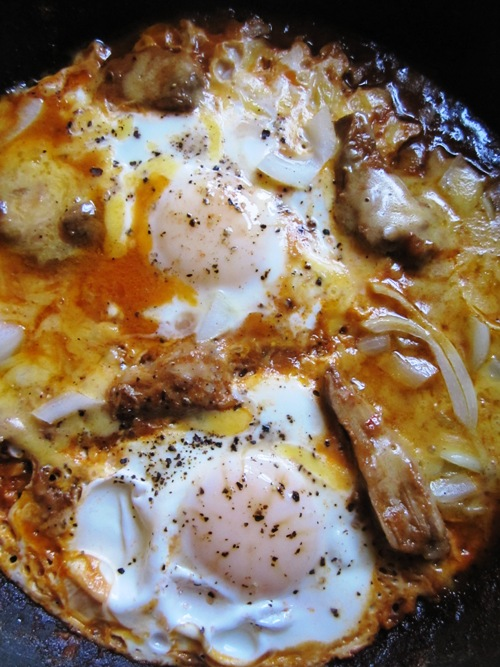 One of our best skillet breakfasts to date -- pulled pork, cheddar, onion and eggs.