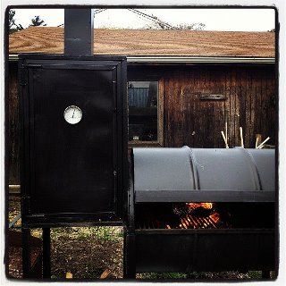 Our friend Dave Blaikie built this smoker and we're storing it for him in our backyard. We are lucky.