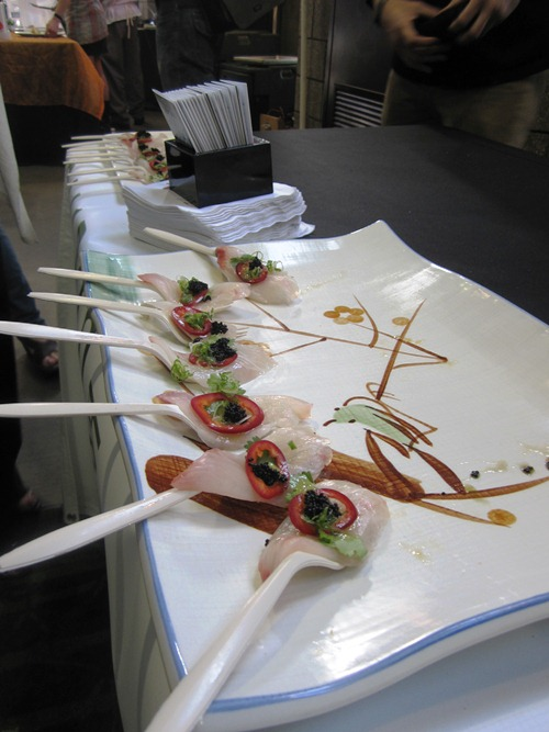 Another favorite only available to VIP ticket holders (spend more on your ticket for several additional tastes and early entry) was Bamboo Sushi's amberjack topped with red jalapeno, cilantro, black flying fish roe and miso vinaigrette.