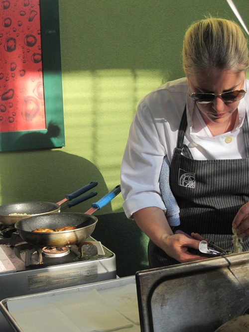 Closing shot -- love this one of Irving Street Kitchen's station cooking up potato latkes with gravlax and apple butter. Can't beat cooking in sunglasses...