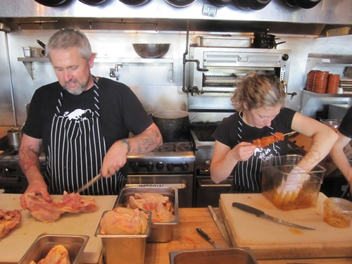 Chef-owner John Gorham and Mary Hatz doing prep. on the Toro Bravo line for a Friday dinner service...
