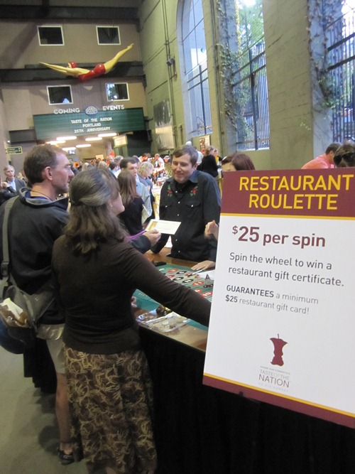 For $25 you could try your luck at restaurant roulette. All sorts of local food and drink gift certificates to be won...