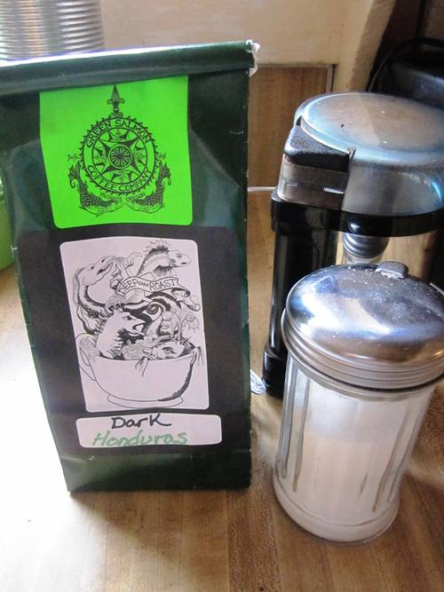 Debbie gave me a big bag of delicious Green Salmon Coffee, from Yachats, to brew and fill my new mug withfor Christmas.