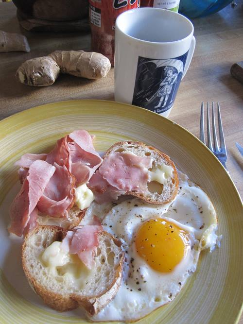 Ham, egg and cheesy breakfast. Top of the morning.