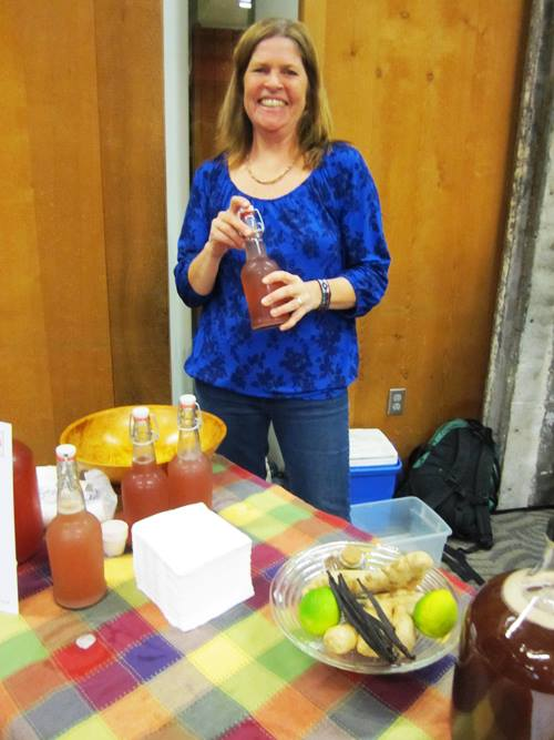 What better way to end this with Lynne Van Dusen's beautiful smile sampling her Vine to Brine lacto-fermented sodas?