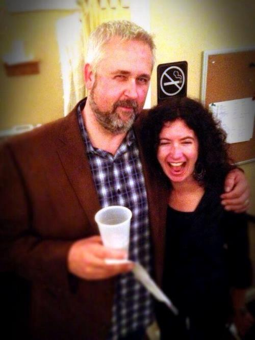 John and I in the green room after his Live Wire Radio interview for the Toro book. A little bit happy.