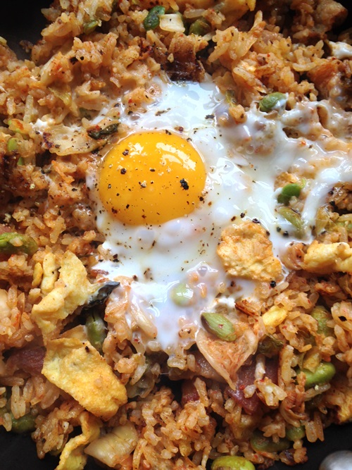 I also made a huge batch of kimchi bacon fried rice for the party. Breakfast the next day...