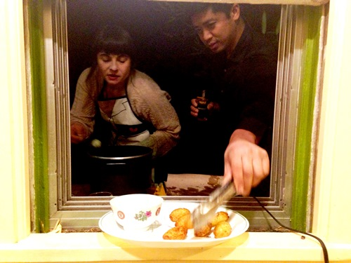 Toro Bravo Salt Cod Fritters window a la Sara and Zo!