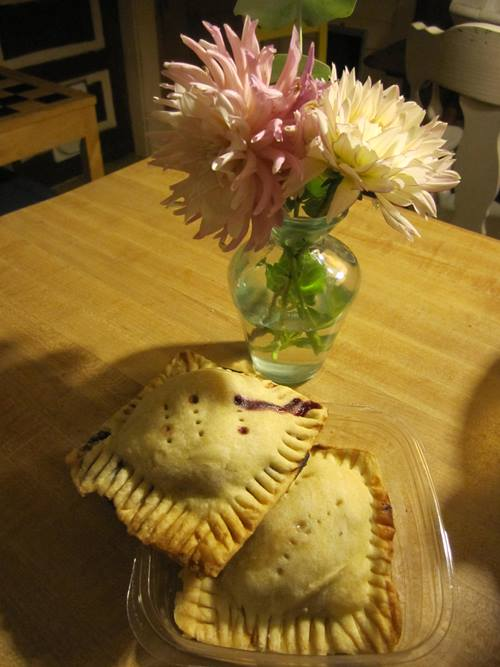 Fruit turnovers from my lovely neighbor Alison. And flowers!!