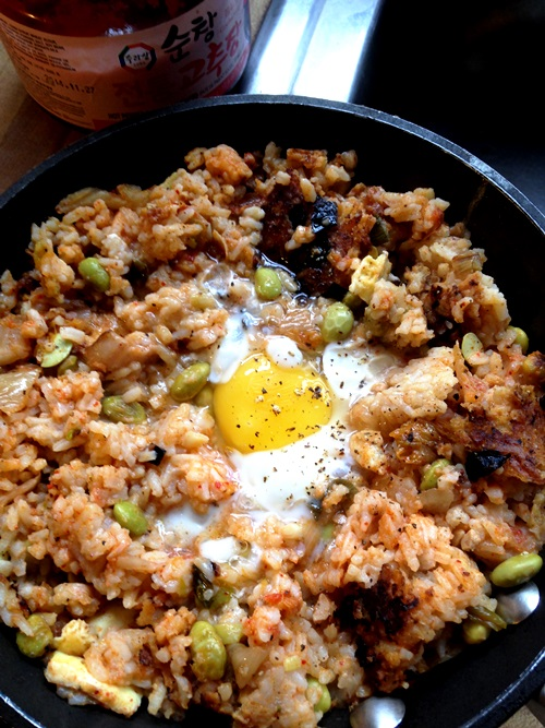 For our first kitchen remodel meeting/party made a big batch of kimchi fried rice and it, of course, became breakfast the next day. So good.