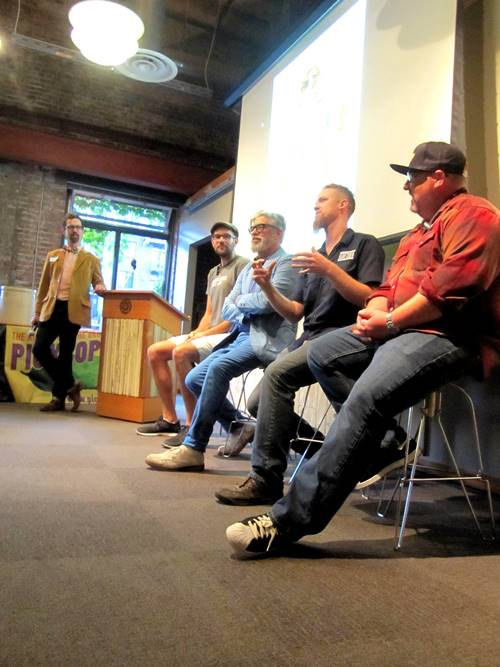 We kicked off the night with a fermentation experts panel with left to right: moderator George Winborn, Josh Grgas of Commons Brewery, David Barber of Picklopolis and Bingo Sandwiches, Nat West of Reverend Nat's Hard Cidery and Eric Finley of Chop Butchery & Charcuterie.