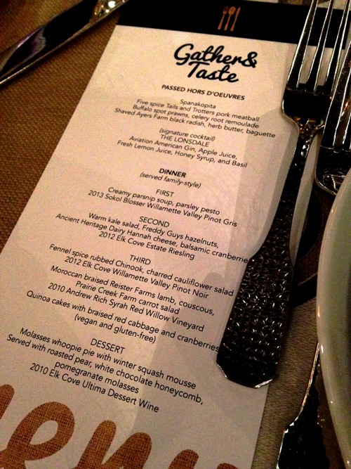 Super tasty menu from Greg Higgins.