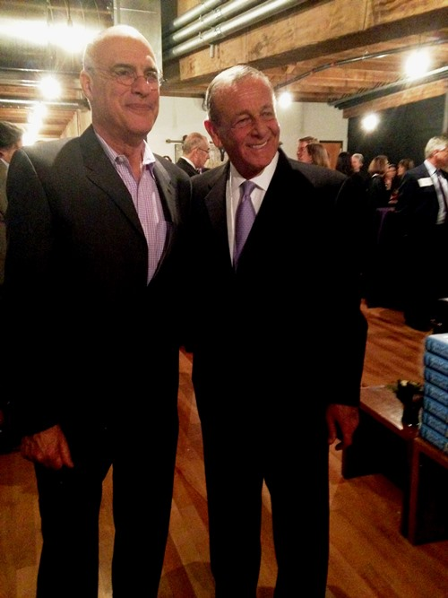 Mark and Bon Appetit Management Co. CEO and co-founder Fedele Bauccio before the dinner.