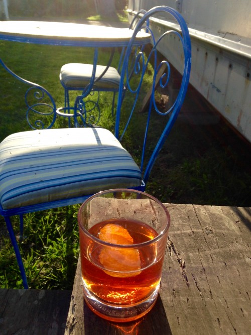 I'll leave you with this picture of spring/summer happiness: solo early eve Sazerac on my trailer stoop at the Sou'wester. Life is sweet.