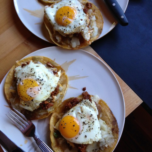 Potato tacos at night aaaaand potato tostadas in the morning! With soyrizo and eggs. Yummmmm.