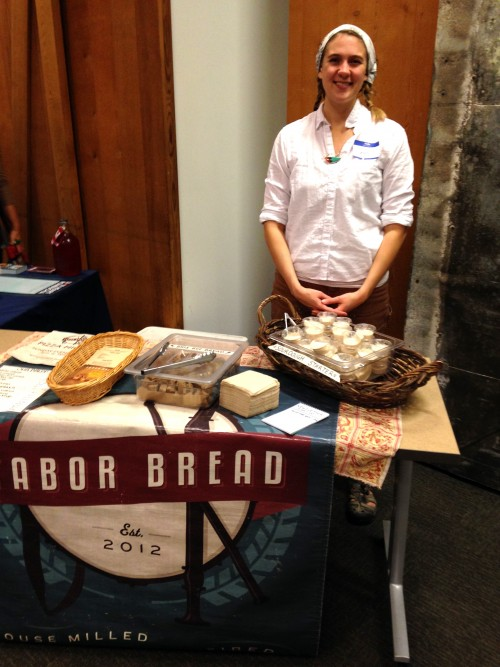 Tabor Bread baker and baking teacher Sarah Black with gratis sourdough cultures and yummy YUMMY natural starter whole grain rye bread.