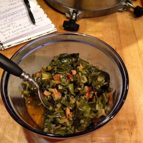 I tested The Tasty Cookbook collards at home a couple weeks ago. They're so yummy and taste like they cooked for hours even though they only took 30 minute/ and I've borrowed my friend's pressure cooker for way too long. I need to return it and get one of my own.