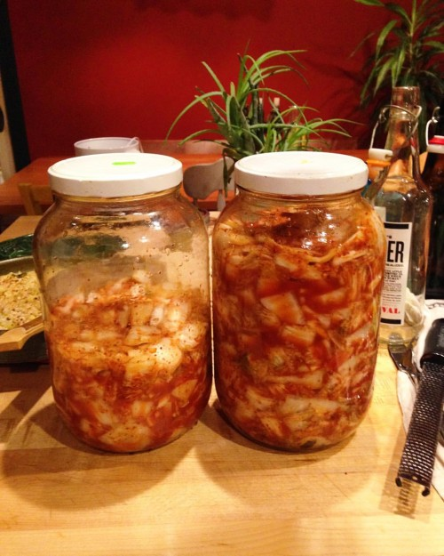 Made with my homemade Choi's Kimchi recipe classic kimchi. So tasty.  I put a lot of brined shrimp in it this time.