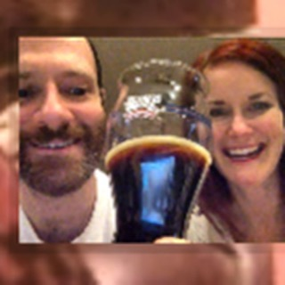 My brother Andy, sister-in-law Laura and I toasting via Skype with the Vanilla Porter that Andy and I brewed when I was home in Cincinnati for Christmas this Christmas Eve. They sent me a package of a few bottles of it as they always do. Crazy good. And so cute.