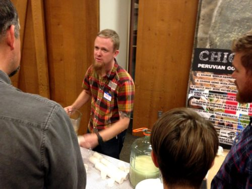 Nat West serving up his Peruvian chewed/spit fermented corn drink. Nat always makes really unusual experimental ferments just for the fest. Last year he sampled his Mongolian milk wine and the year before that he brought his fermented LEG OF LAMB cider! Wacky and awesome.