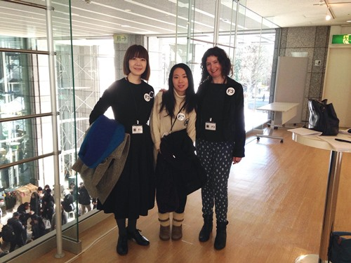 Etusyo Okajima (moderator), Mai Oyama (translator) and me before my F3 talk.