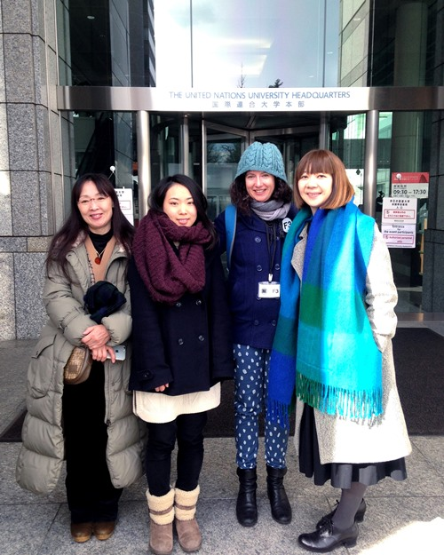 Left to right: Mai's mom (I forget her name!), Mai, Etsuyo and me after the talk. All bundled up and ready to hit the fest food/drink area again.