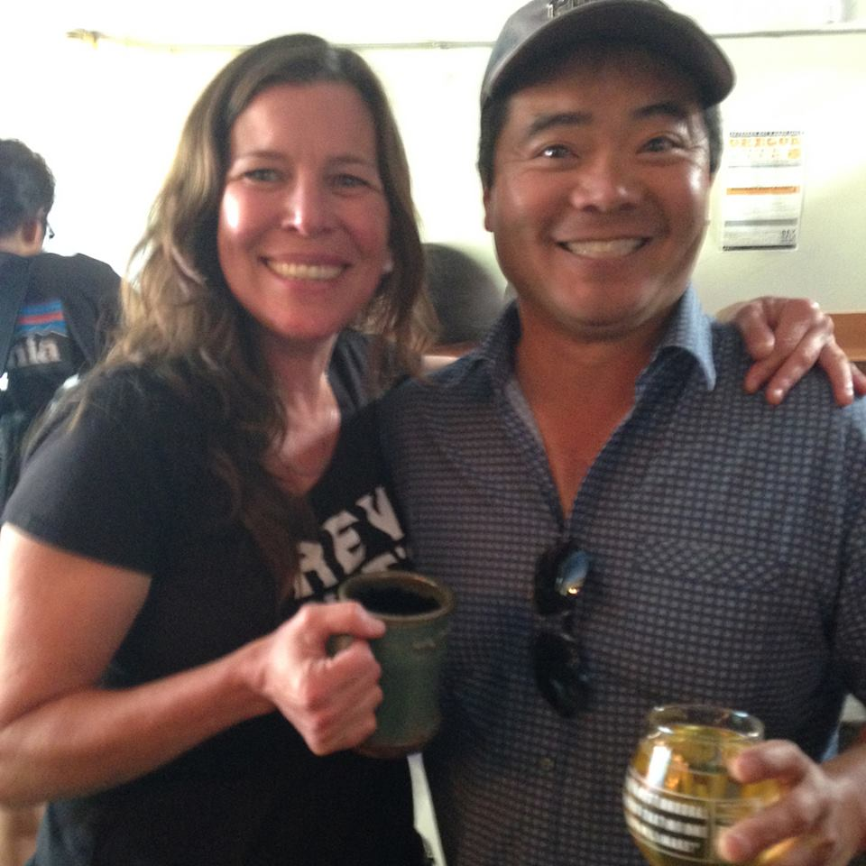 Rev. Nat's event coordinator superstar Carolyn Winkler with Randy Kiyokawa of Kiyokawa Family Orchards in Parkdale. Seven Japanese varieties of his apples comprise Nat's super tasty Magnificent 7 hard cider along with sake yeast that was poured at the event and is available in Japan.
