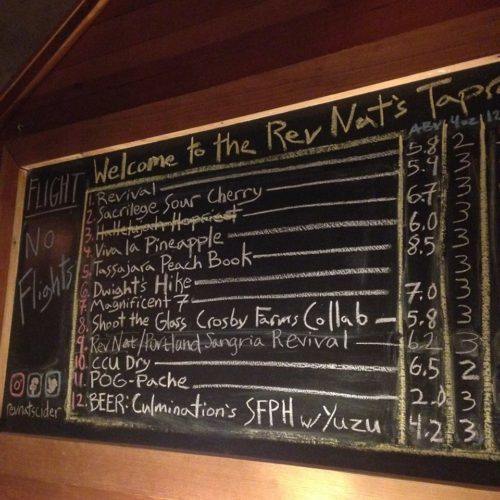 The cidery's awesome taplist for the party. My favorite cidery on the planet.